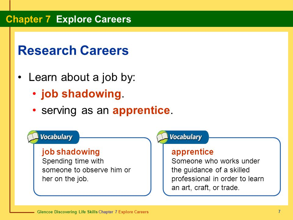 Glencoe Discovering Life Skills Chapter 7 Explore Careers Chapter 7 Explore Careers 7 Research Careers Learn about a job by: job shadowing.