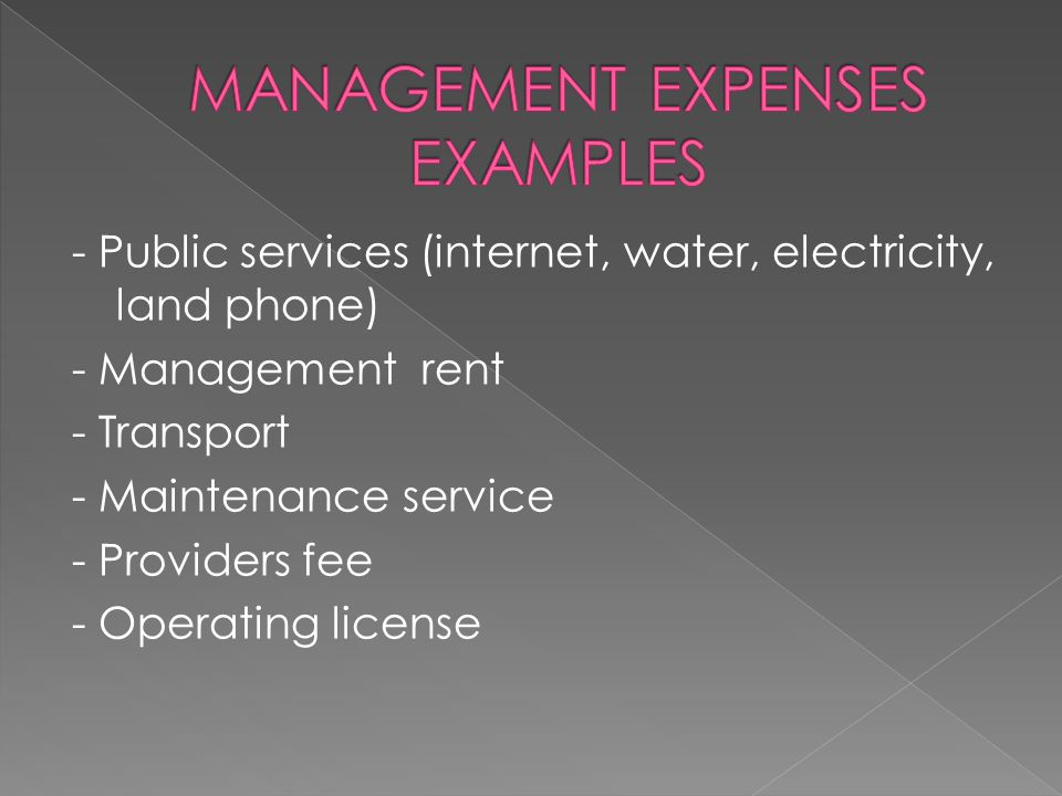- Public services (internet, water, electricity, land phone) - Management rent - Transport - Maintenance service - Providers fee - Operating license