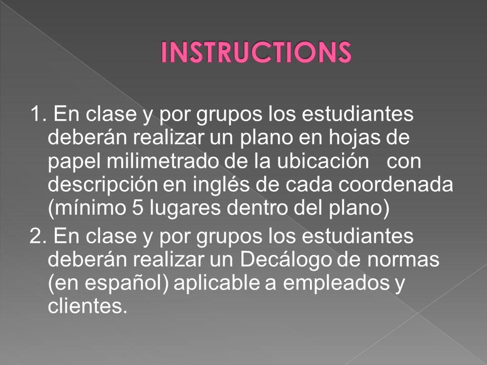 1. En clase y por grupos los estudiantes deberán realizar un plano en hojas de papel milimetrado de la ubicación con descripción en inglés de cada coo