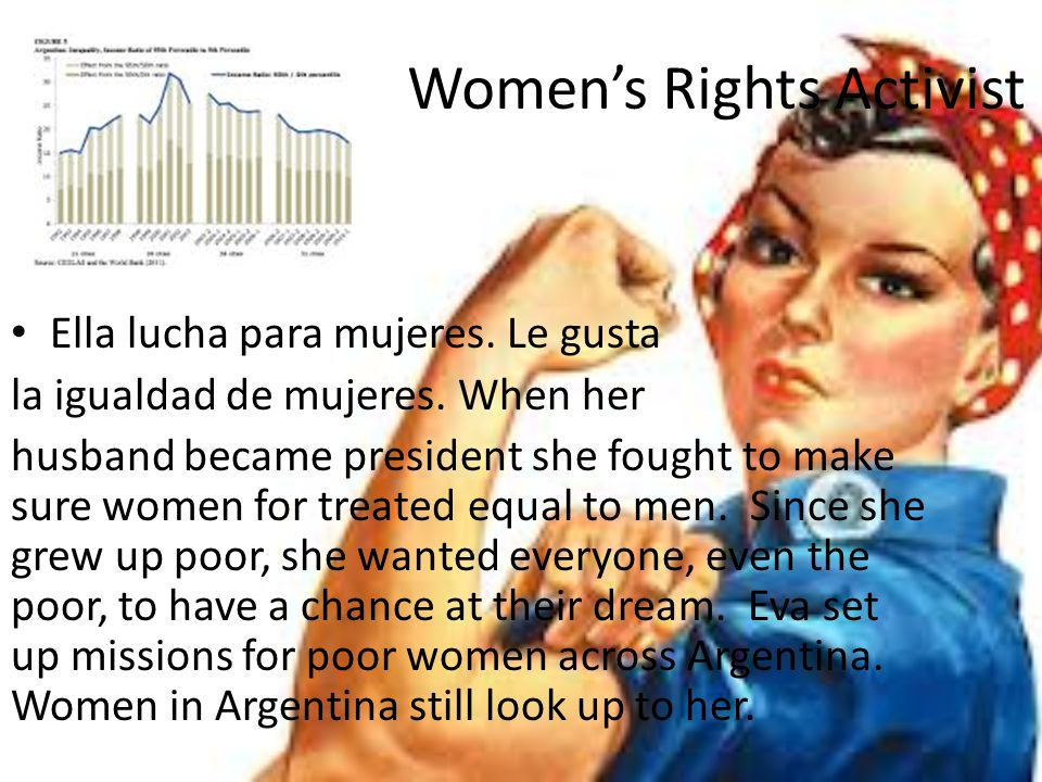 Women's Rights Activist Ella lucha para mujeres. Le gusta la igualdad de mujeres. When her husband became president she fought to make sure women for