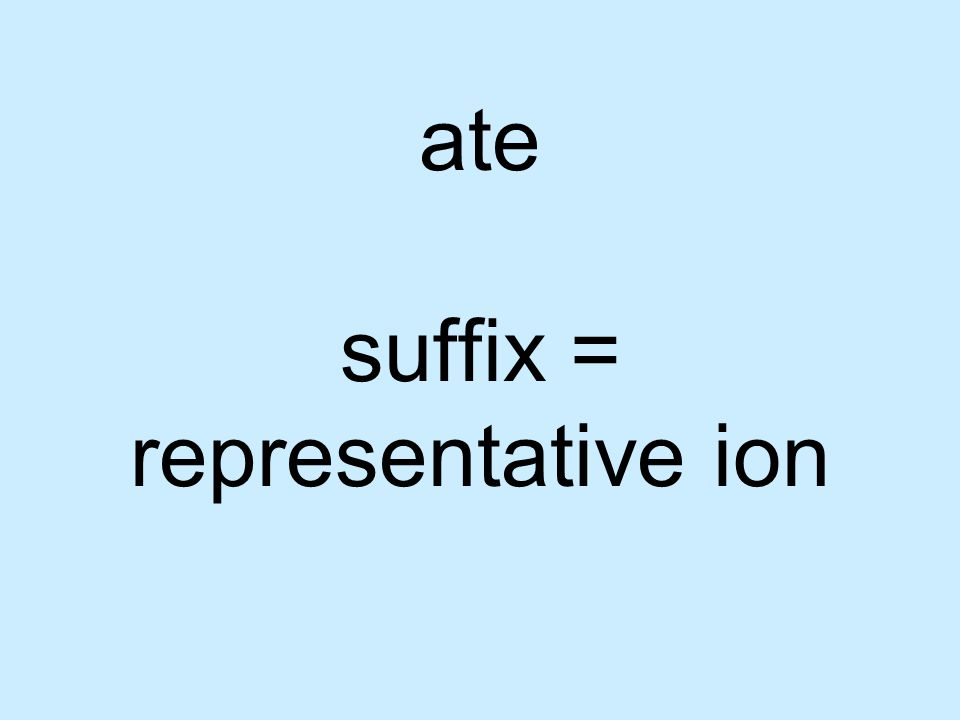 ate suffix = representative ion