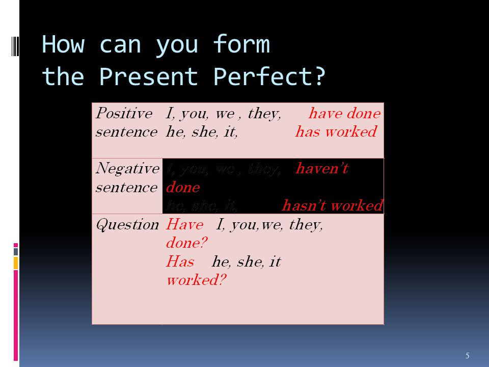 How can you form the Present Perfect? 5