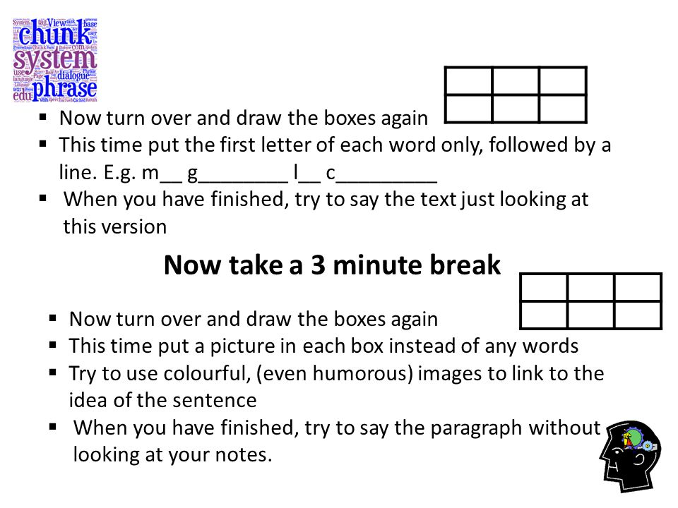  Now turn over and draw the boxes again  This time put the first letter of each word only, followed by a line.