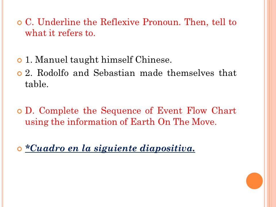 C. Underline the Reflexive Pronoun. Then, tell to what it refers to.