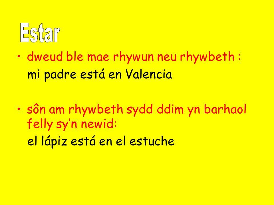 dweud ble mae rhywun neu rhywbeth : mi padre está en Valencia sôn am rhywbeth sydd ddim yn barhaol felly sy'n newid: el lápiz está en el estuche