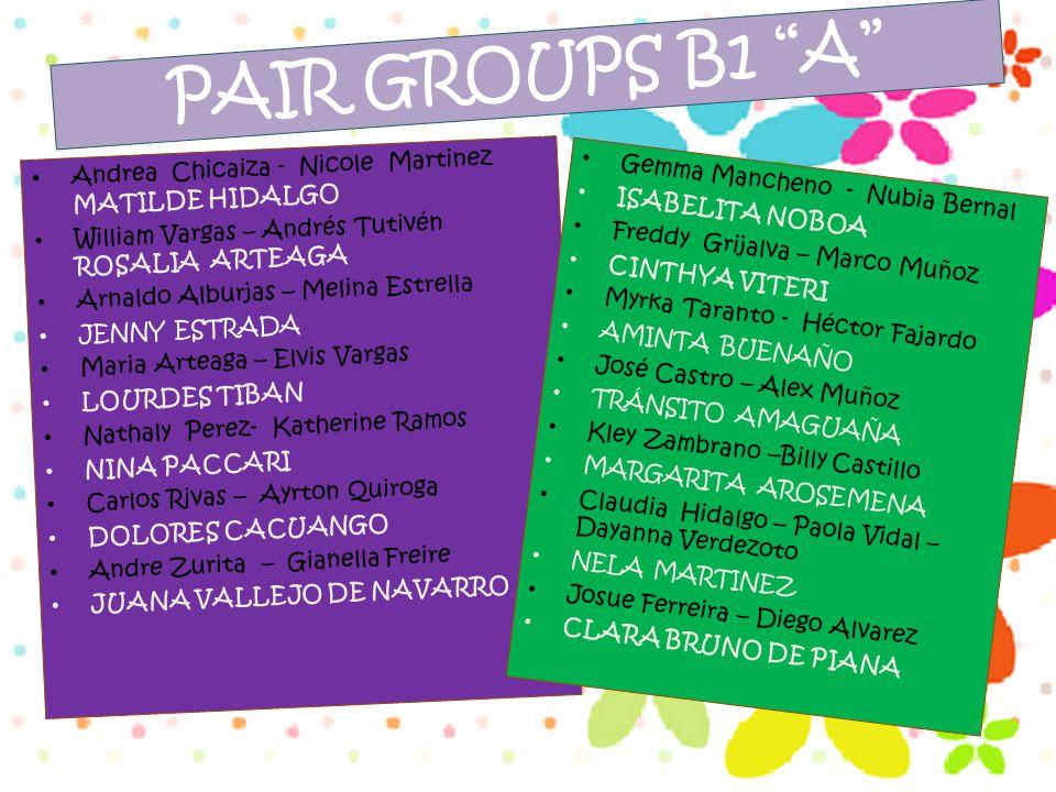 """PAIR GROUPS B1 """"A"""" Andrea Chicaiza - Nicole Martinez MATILDE HIDALGO William Vargas – Andrés Tutivén ROSALIA ARTEAGA Arnaldo Alburjas – Melina Estrell"""
