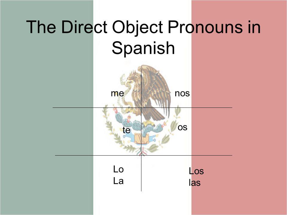 The Direct Object Pronouns in Spanish menos te os Lo La Los las