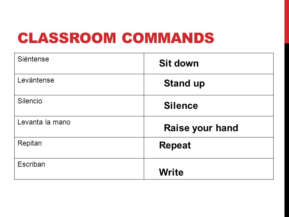 CLASSROOM COMMANDS Siéntense Levántense Silencio Levanta la mano Repitan Escriban Sit down Stand up Silence Raise your hand Repeat Write