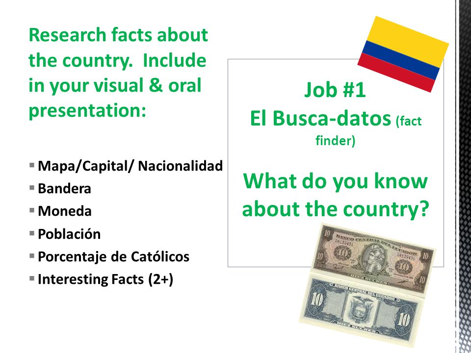 Research facts about the country.