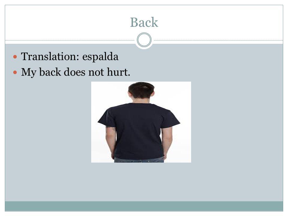 Back Translation: espalda My back does not hurt.