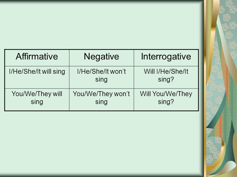 AffirmativeNegativeInterrogative I/He/She/It will singI/He/She/It won't sing Will I/He/She/It sing.