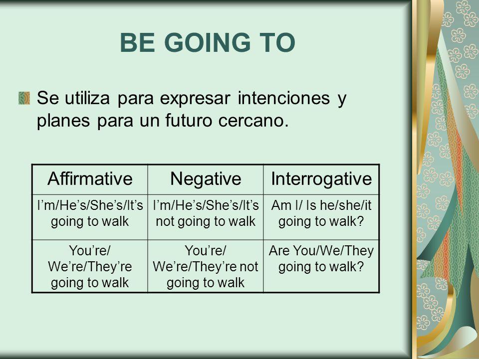 BE GOING TO Se utiliza para expresar intenciones y planes para un futuro cercano. AffirmativeNegativeInterrogative I'm/He's/She's/It's going to walk I