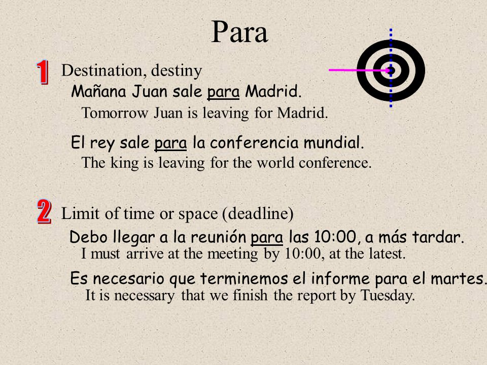 Para Para is very unidirectional and points forward toward a goal or destination, whether literal or figurative.