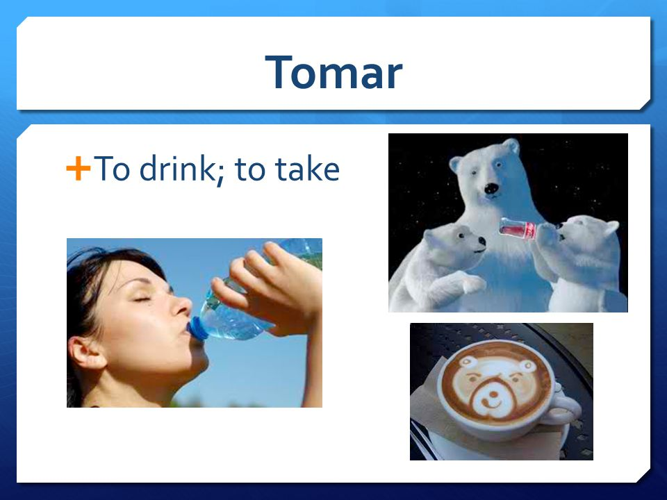 Tomar  To drink; to take