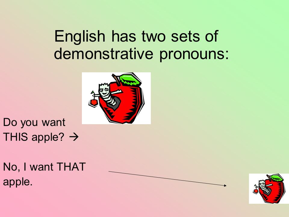 English has two sets of demonstrative pronouns: Do you want THIS apple?  No, I want THAT apple.