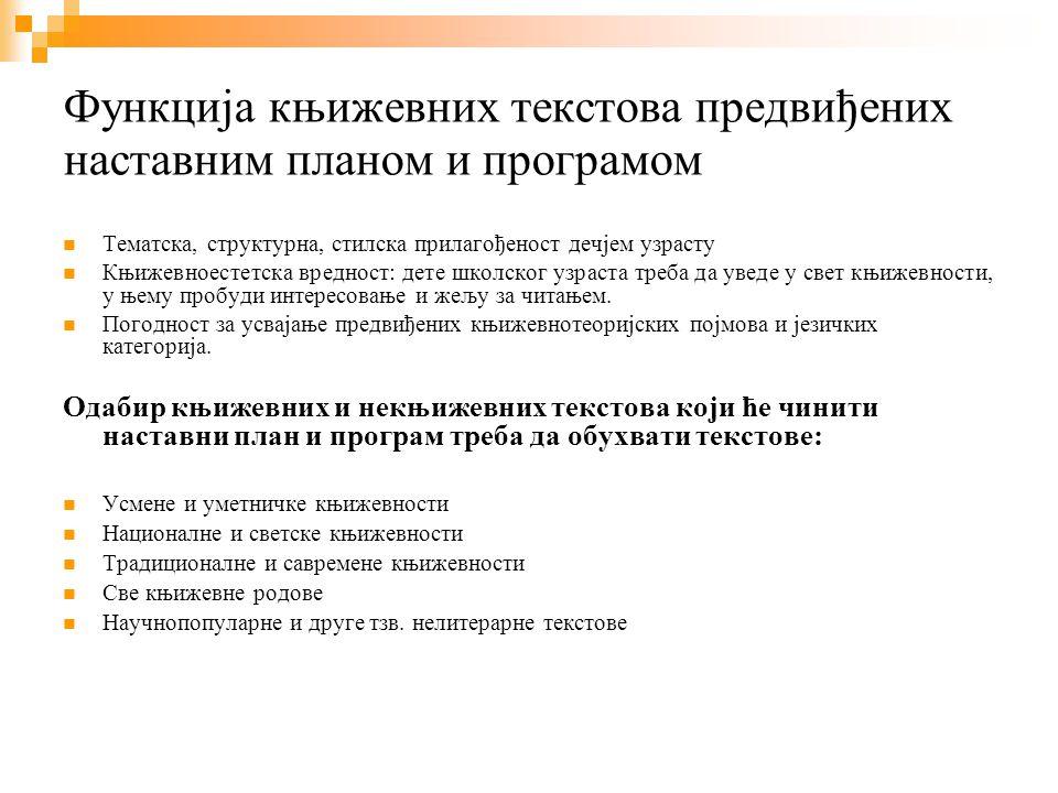 Заступљеност Највише је текстова српске књижевности (усмене и уметничке)- око 75 % Текстови светске књиж.