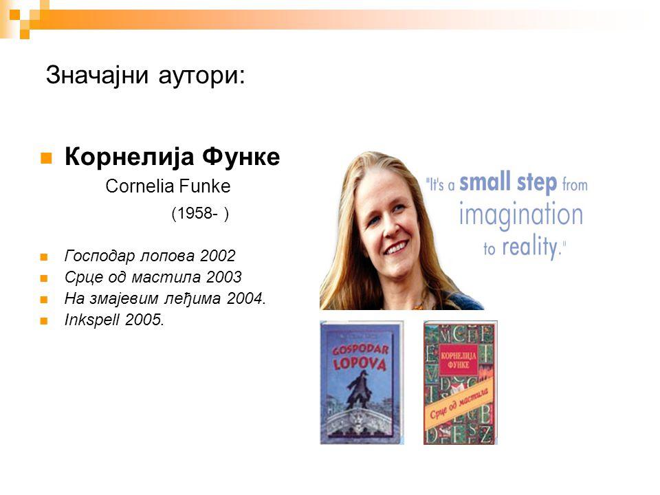 Значајни аутори: Корнелија Функе Cornelia Funke (1958- ) Господар лопова 2002 Срце од мастила 2003 На змајевим леђима 2004.