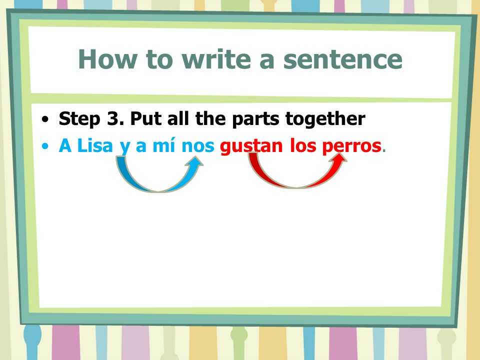 How to write a sentence Step 3. Put all the parts together A Lisa y a mí nos gustan los perros.