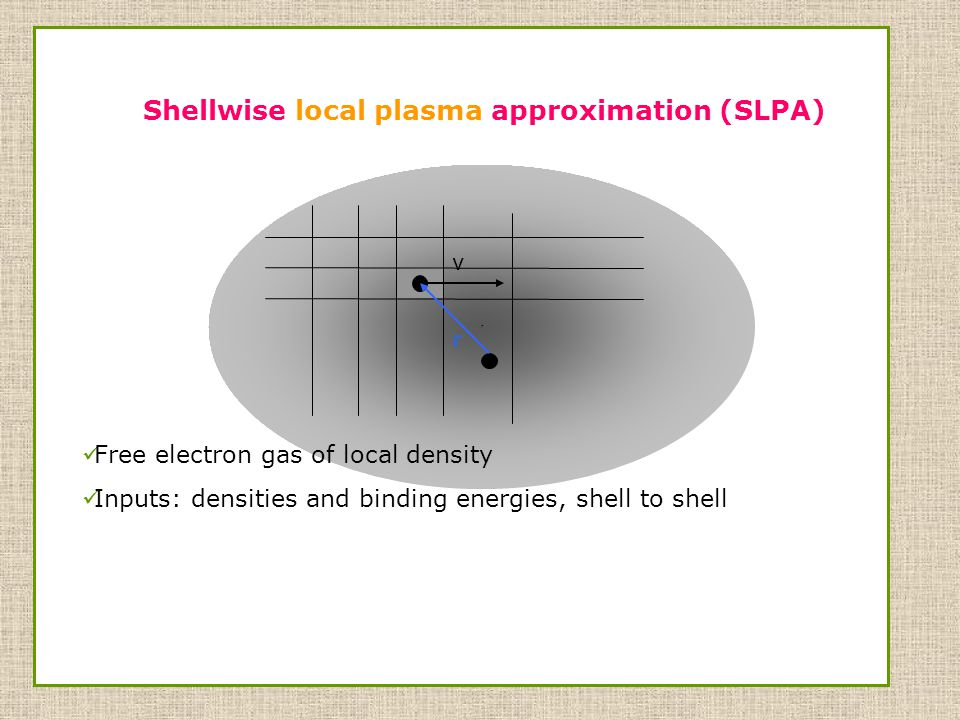 r Free electron gas of local density Inputs: densities and binding energies, shell to shell Shellwise local plasma approximation (SLPA) v r