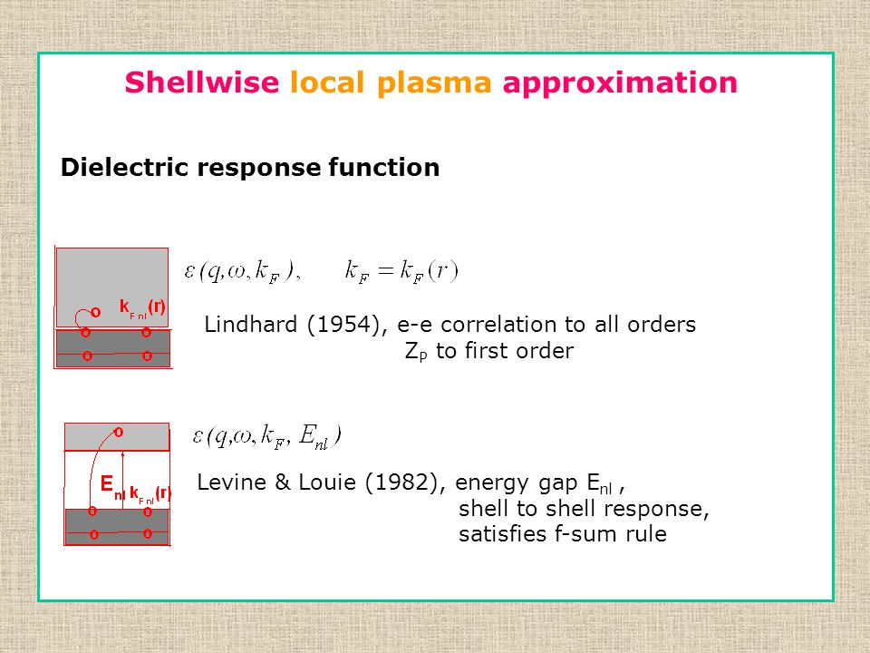  Independent shell approximation  Screening among electrons-correlation  Same shell.