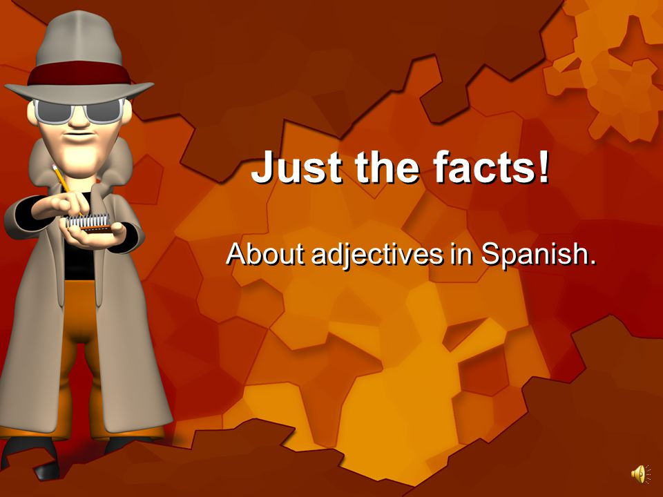 Just the facts! About adjectives in Spanish.