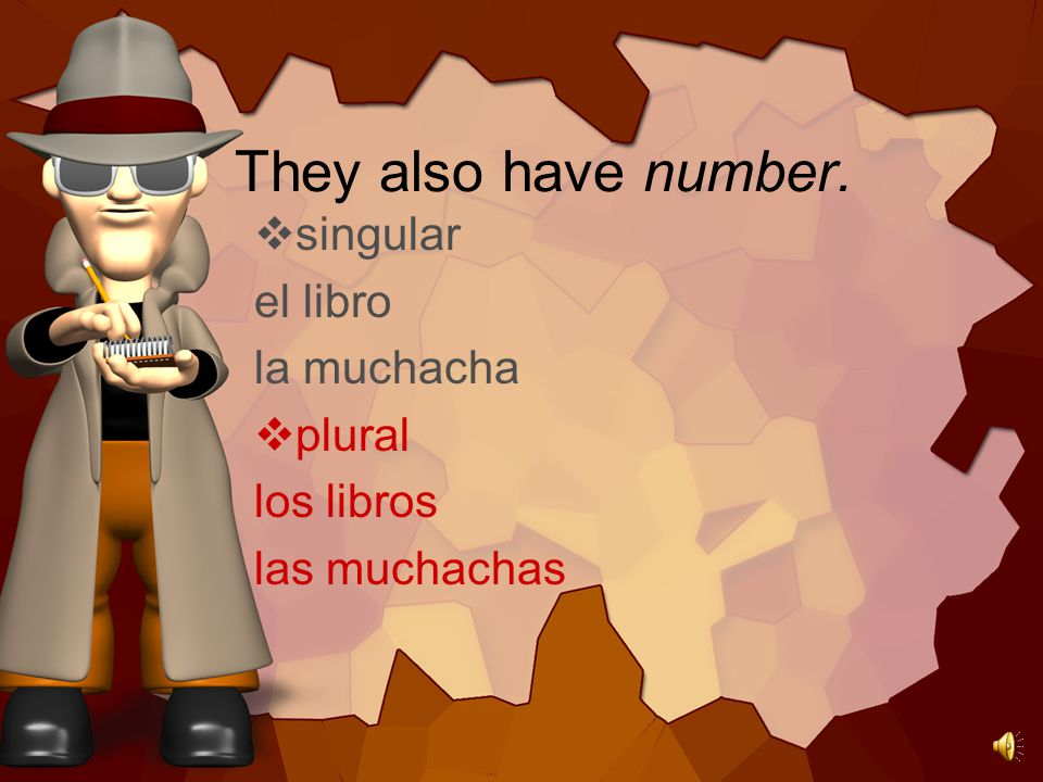 You know that nouns in Spanish have gender.  masculine el libro el muchacho  feminine la casa la muchacha