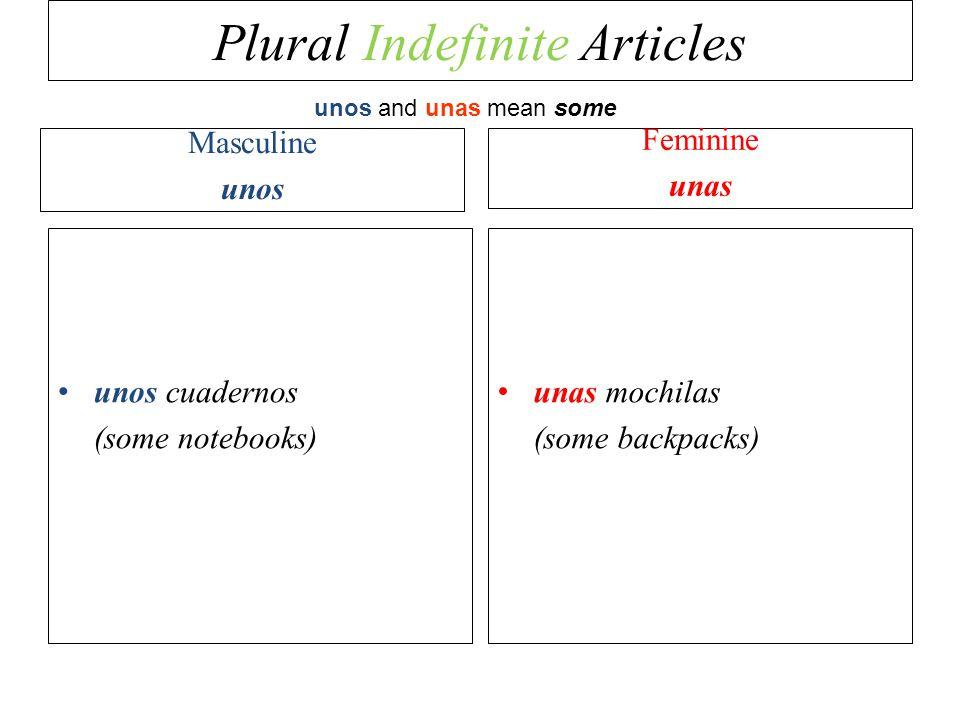 Plural Indefinite Articles Masculine unos unos cuadernos (some notebooks) Feminine unas unas mochilas (some backpacks) unos and unas mean some