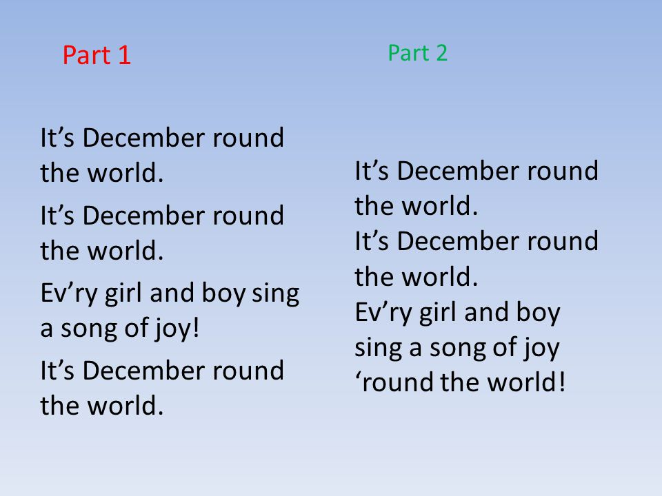 Ev'ry girl and boy sing a song of joy. It's December round the world.