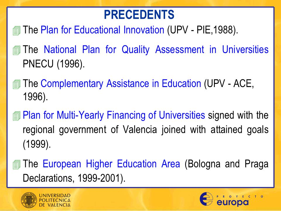 PROYECTO EUROPA AME1.- Coordination of Degree Programmes AME2.- New Teaching-learning Methods AME3.- Improvements in Assessment Methods AME4.- Improvements in Pedagogic Qualifications of Teaching Staff AME5.- Complementary Training of Teaching Staff in Professional Activities AME6.- Update Teaching Staff Knowledge AME7.- Short-term Teacher Exchange in European Countries