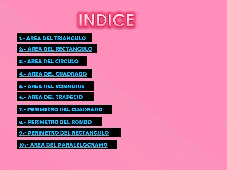 1.- AREA DEL TRIANGULO 1.- AREA DEL TRIANGULO 2.- AREA DEL RECTANGULO 2.- AREA DEL RECTANGULO 4.- AREA DEL CUADRADO 4.- AREA DEL CUADRADO 5.- AREA DEL