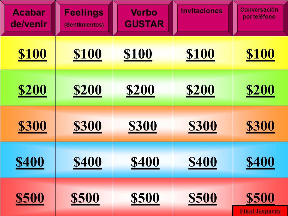 M.K.Klamer_2000_Revised 2002 Acabar de/venir Feelings (Sentimientos) Conversación por teléfono Verbo GUSTAR Invitaciones $100 $200 $300 $400 $500 $300 $400 $500 Final Jeopardy