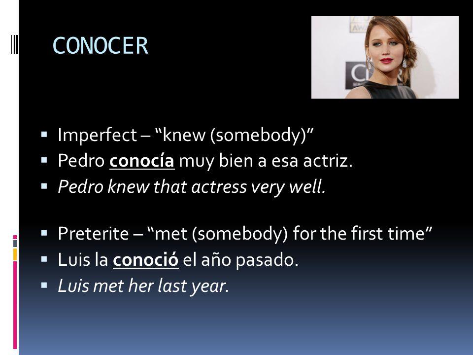 CONOCER  Imperfect – knew (somebody)  Pedro conocía muy bien a esa actriz.