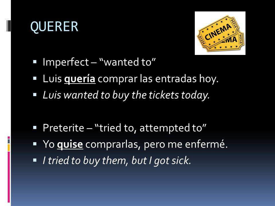 QUERER  Imperfect – wanted to  Luis quería comprar las entradas hoy.