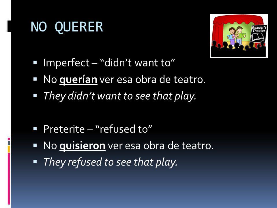 NO QUERER  Imperfect – didn't want to  No querían ver esa obra de teatro.