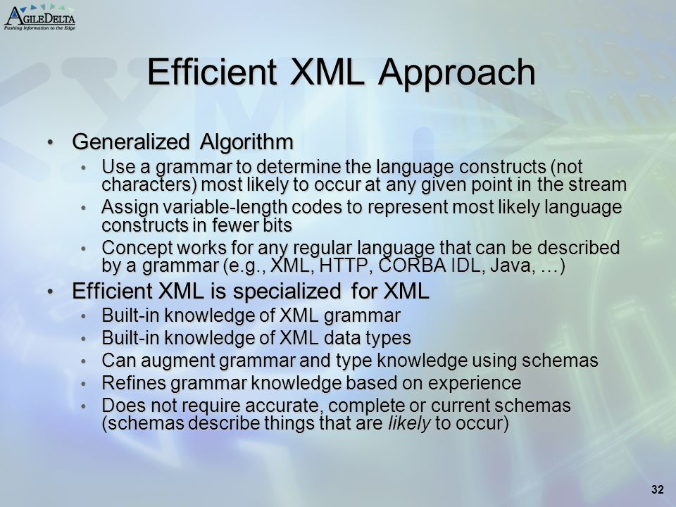 32 Efficient XML Approach Generalized Algorithm Generalized Algorithm Use a grammar to determine the language constructs (not characters) most likely