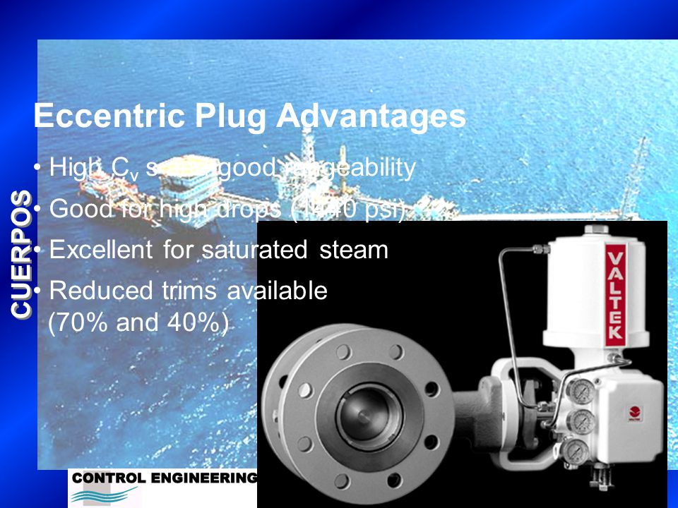 CUERPOS Eccentric Plug Advantages High C v s and good rangeability Good for high drops (1440 psi) Excellent for saturated steam Reduced trims available (70% and 40%)
