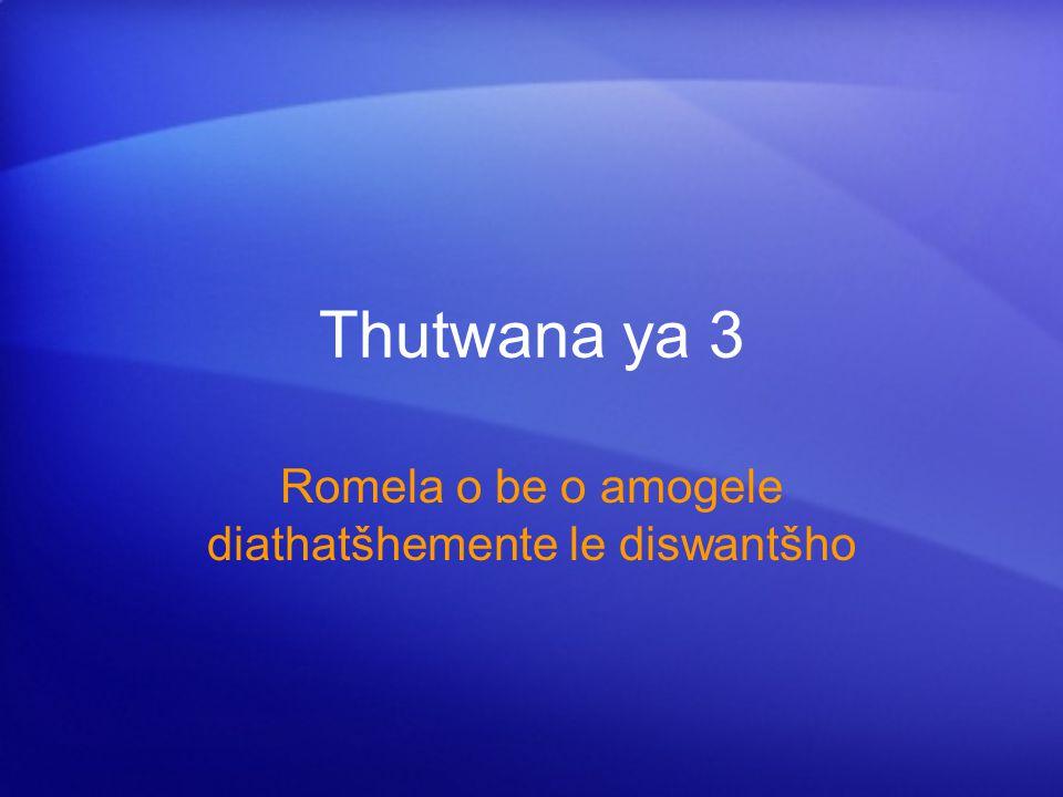 Thutwana ya 3 Romela o be o amogele diathatšhemente le diswantšho