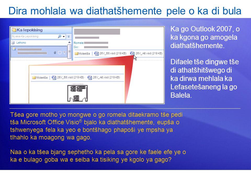 Dira mohlala wa diathatšhemente pele o ka di bula Ka go Outlook 2007, o ka kgona go amogela diathatšhemente.