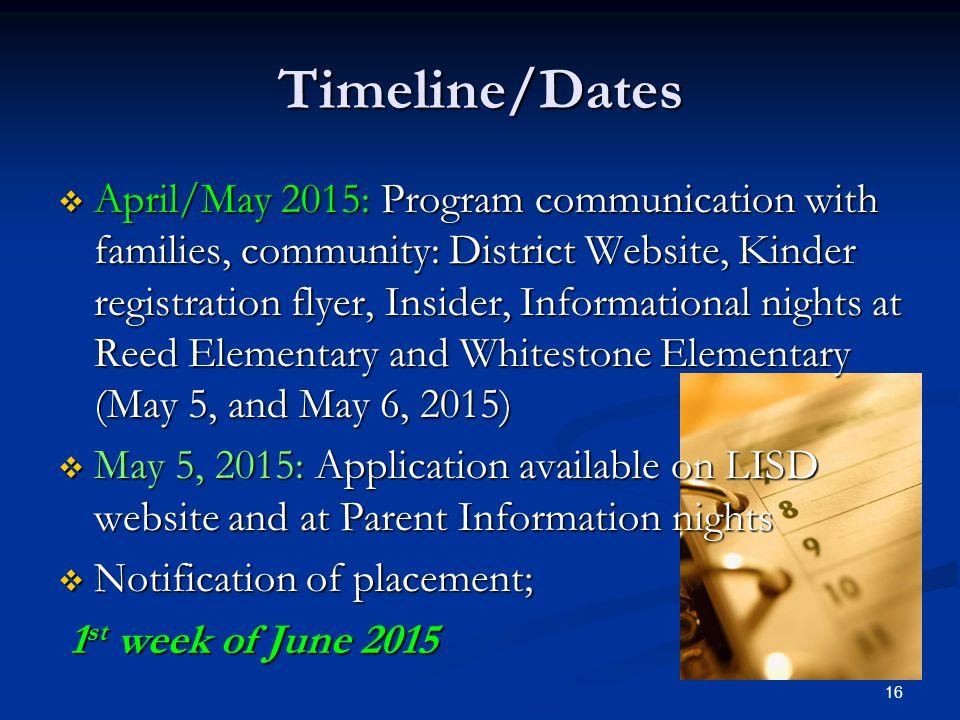 Timeline/Dates  April/May 2015: Program communication with families, community: District Website, Kinder registration flyer, Insider, Informational n