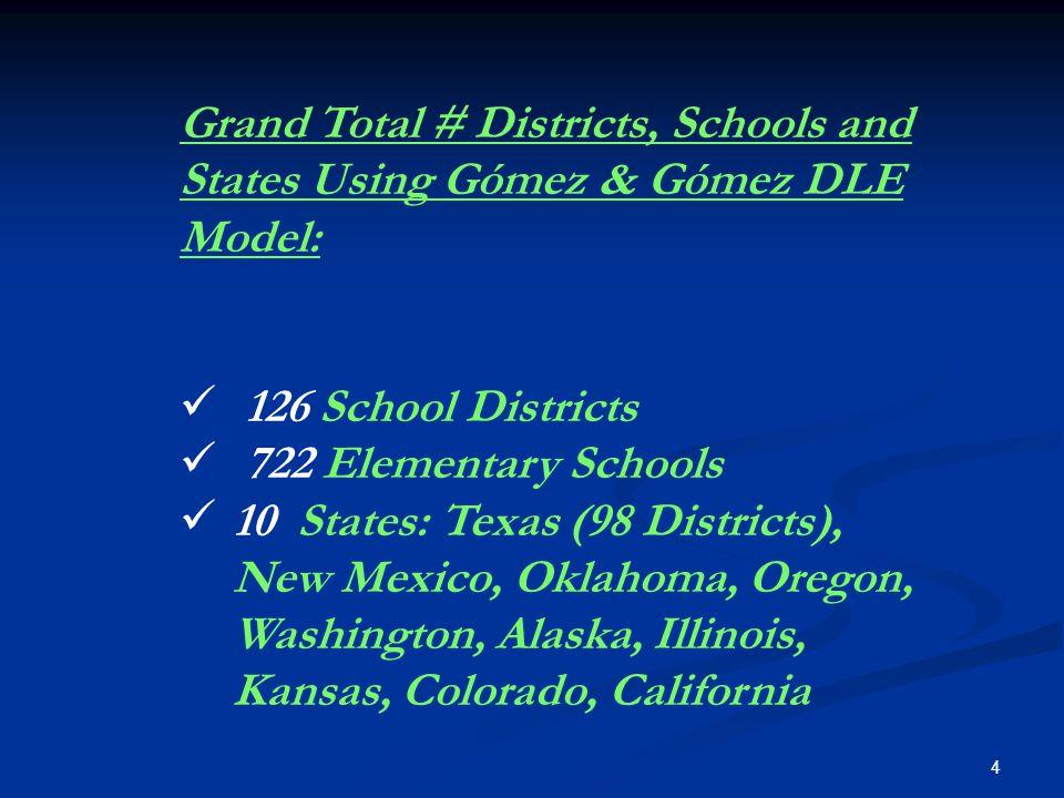 4 Grand Total # Districts, Schools and States Using Gómez & Gómez DLE Model: 126 School Districts 722 Elementary Schools 10 States: Texas (98 Districts), New Mexico, Oklahoma, Oregon, Washington, Alaska, Illinois, Kansas, Colorado, California