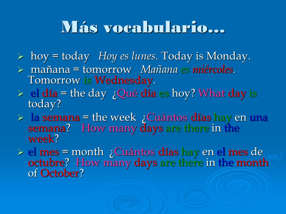 Más vocabulario…  hoy = today Hoy es lunes. Today is Monday.