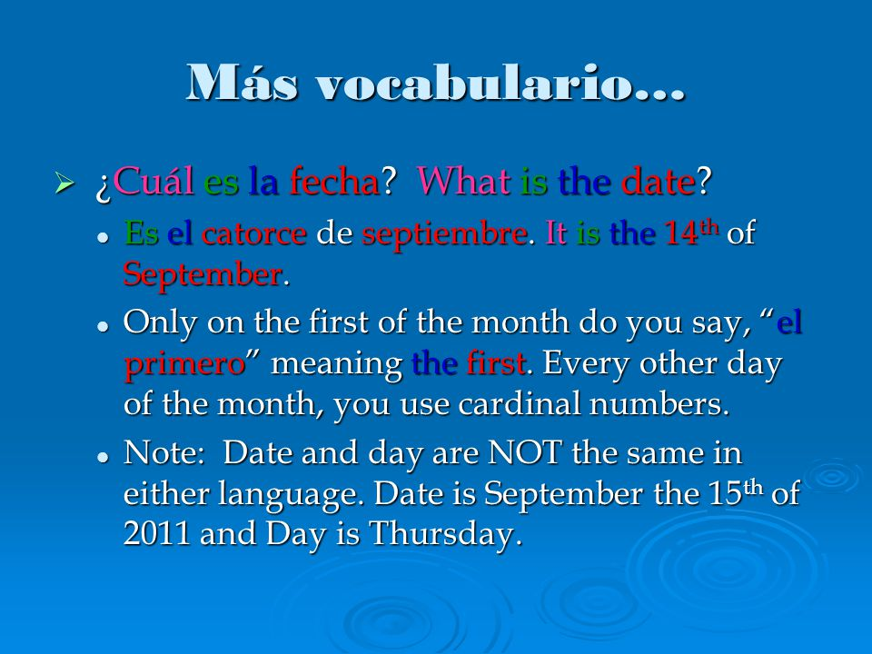 Más vocabulario…  ¿Cuál es la fecha. What is the date.