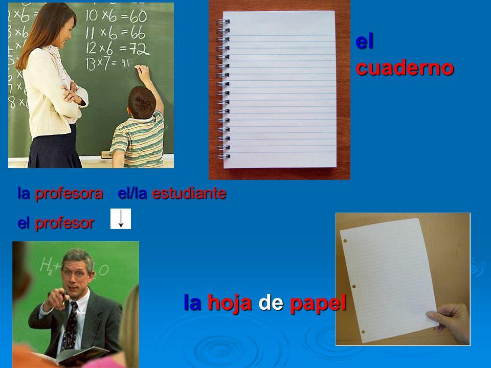 la profesora el/la estudiante el profesor el cuaderno la hoja de papel