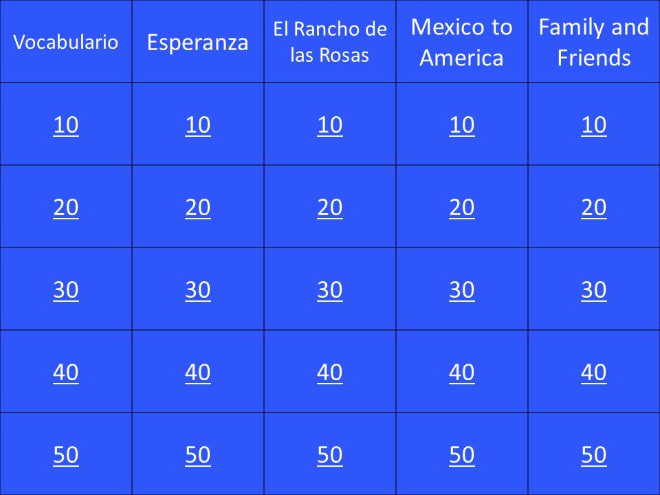 Vocabulario Esperanza El Rancho de las Rosas Mexico to America Family and Friends 10 20 30 40 50