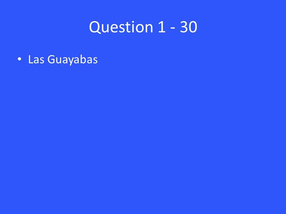 Question 1 - 30 Las Guayabas