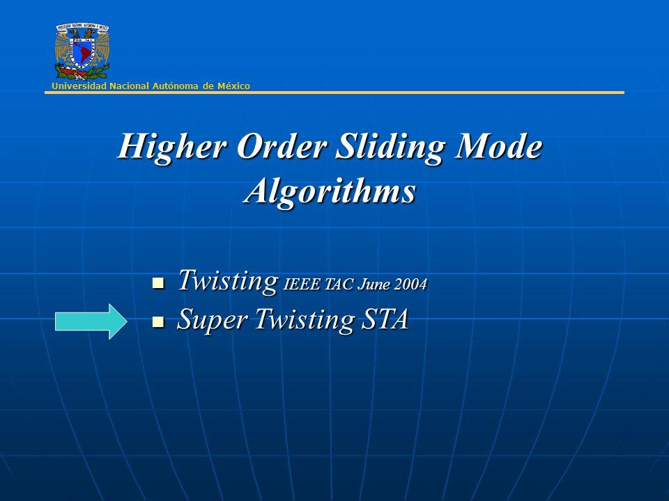 Universidad Nacional Autónoma de México Higher Order Sliding Mode Algorithms Twisting IEEE TAC June 2004 Twisting IEEE TAC June 2004 Super Twisting STA Super Twisting STA