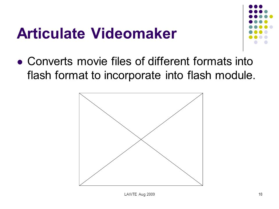 LAWTE Aug 200918 Articulate Videomaker Converts movie files of different formats into flash format to incorporate into flash module.