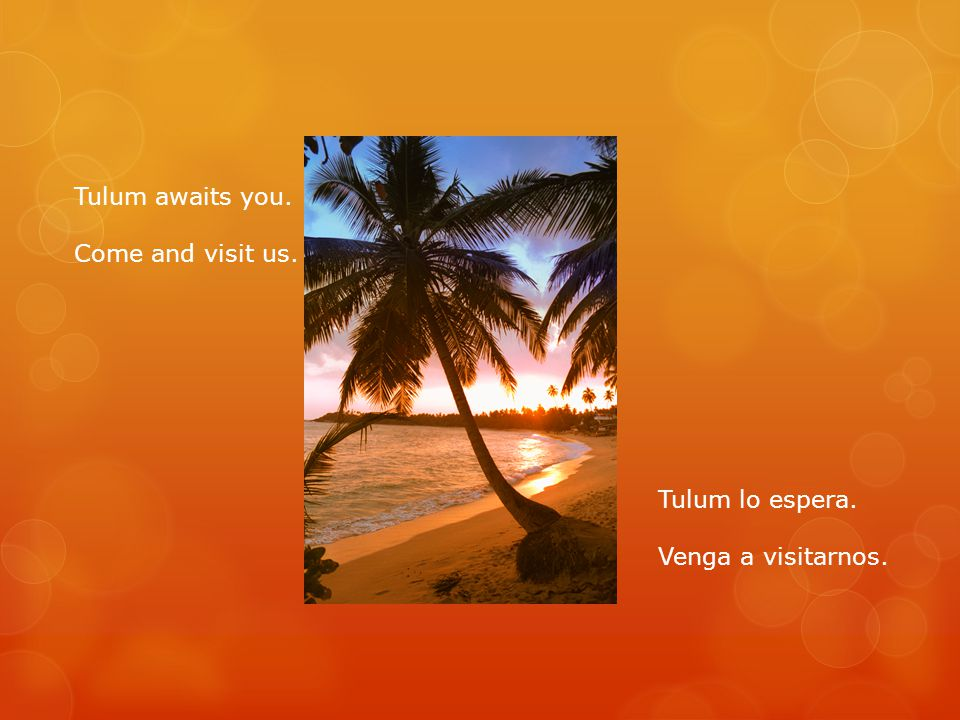 Tulum awaits you. Come and visit us. Tulum lo espera. Venga a visitarnos.