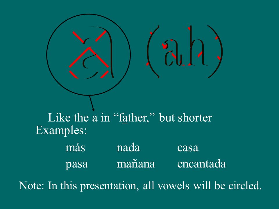 Like the a in father, but shorter más Examples: pasa nada mañana casa encantada Note: In this presentation, all vowels will be circled.
