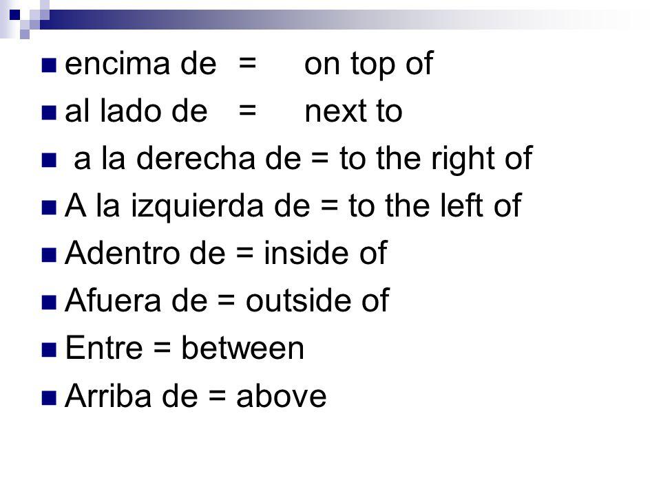 encima de =on top of al lado de=next to a la derecha de = to the right of A la izquierda de = to the left of Adentro de = inside of Afuera de = outside of Entre = between Arriba de = above